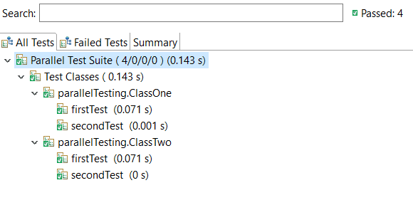 Results of Parallel execution of classes in TestNG