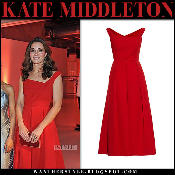 Kate Middleton in red asymmetric neckline midi dress preen royal family event fashion november 15