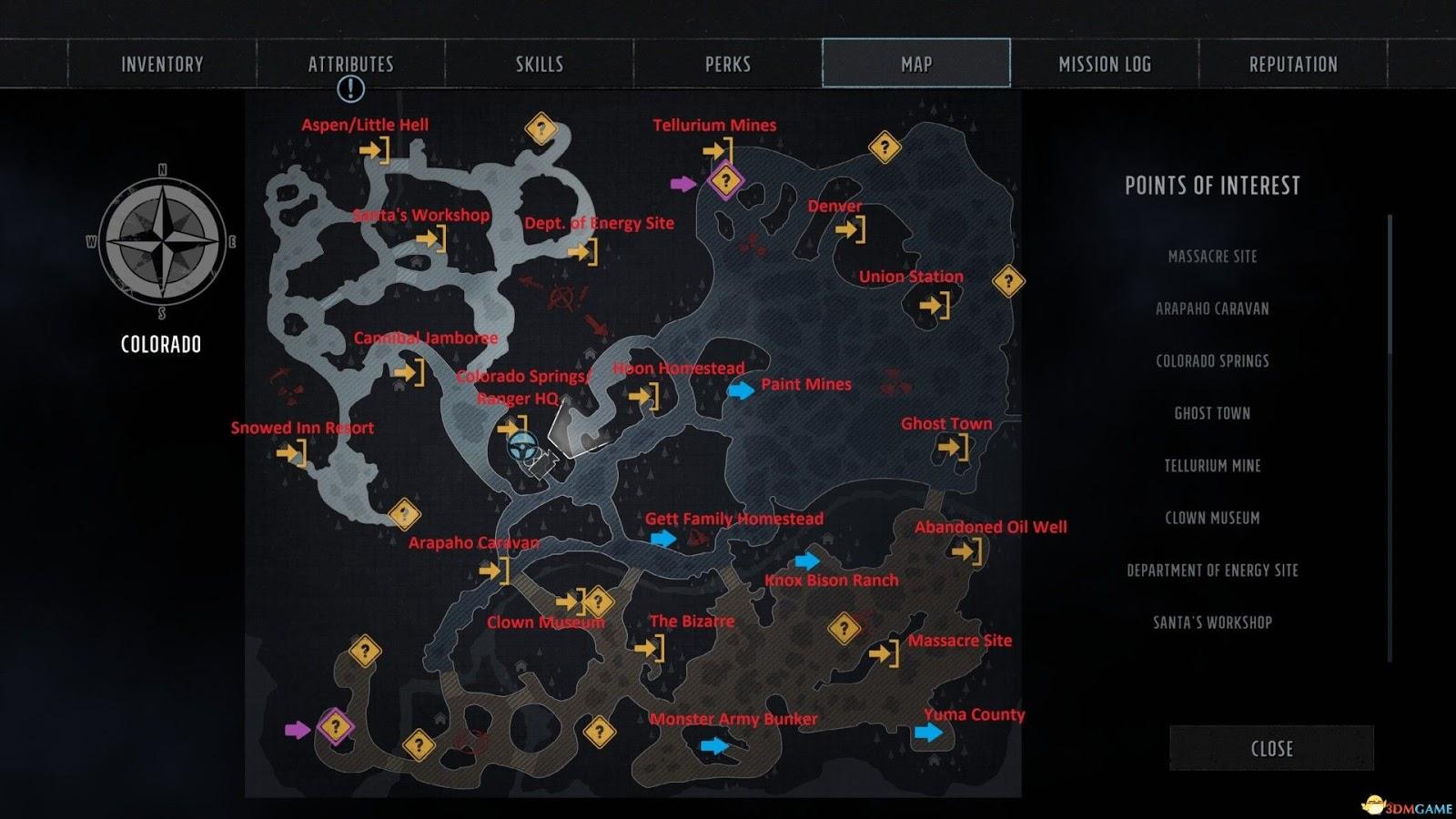 荒野遊俠 3 (Wasteland 3) 全地點英文高清地圖 | 娛樂計程車
