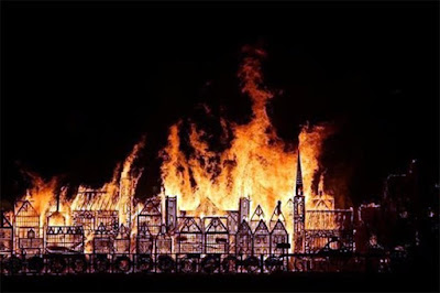 Wooden Sculpture Goes In Flames In London