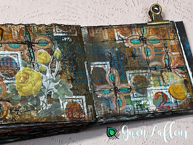 Abstract Label Stamps Mini Journal Spread - Gwen Lafleur