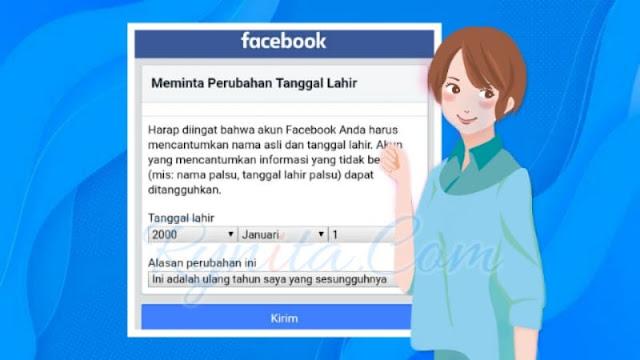 cara mengganti / mengubah tanggal lahir di facebook lewat hp versi fb lite