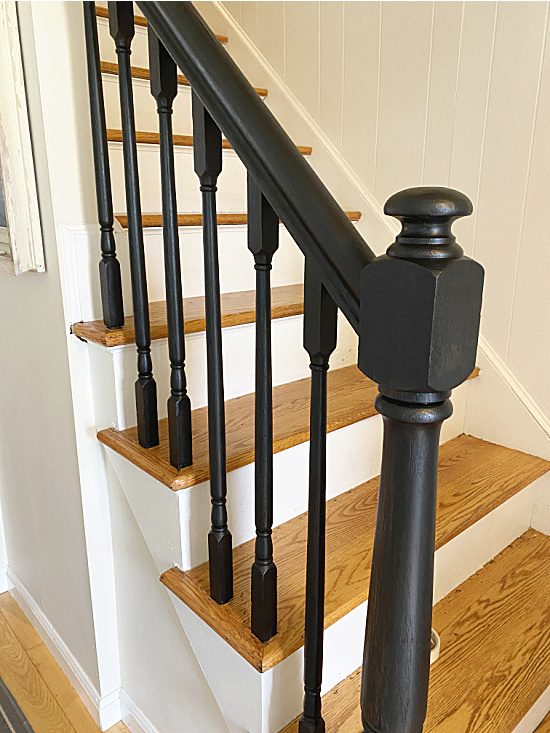 black spindles and newel post