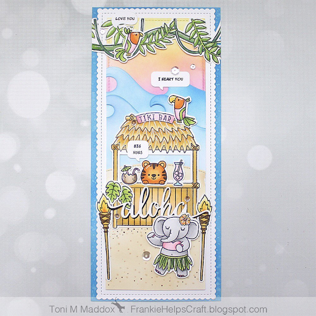 Sunny Studio Stamps: Tiki Time Beach Buddies Tropical Scenes Customer Card by Toni Maddox