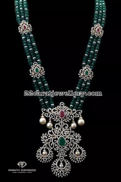 Emerald Beads Diamond Clasps Haram