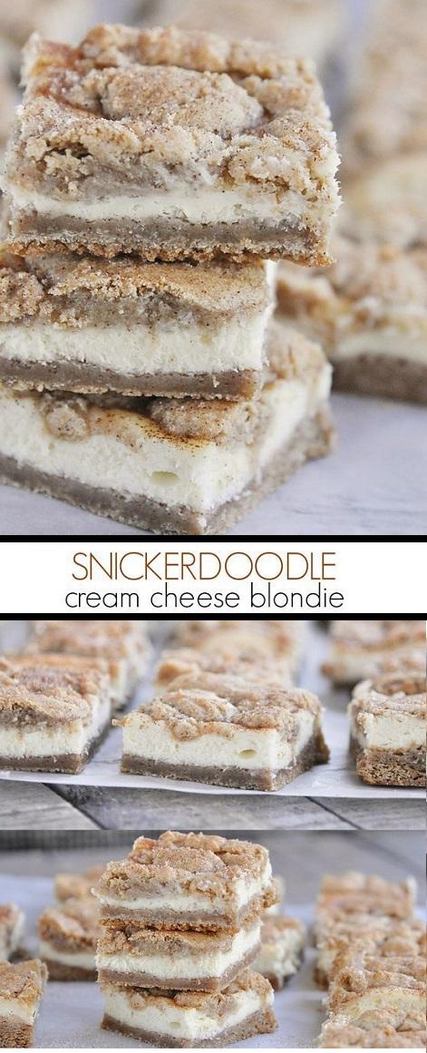 Cheesecake Snickerdoodle Blondies #dessert #cheesecake