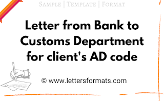 Letter from Bank to Customs department providing AD code of a customer