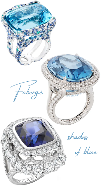 Fabergé rings shades of blue Colors of Love & Emotion Katharina aquamarine rings as well as dark blue Colors of Love sapphire ring #brilliantluxury