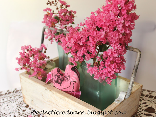 Eclectic Red Barn: White box with square vase, heart and Crepe Myrtle flowers