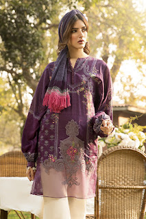 Maria B Unstitched winter purple & white color dress with printed