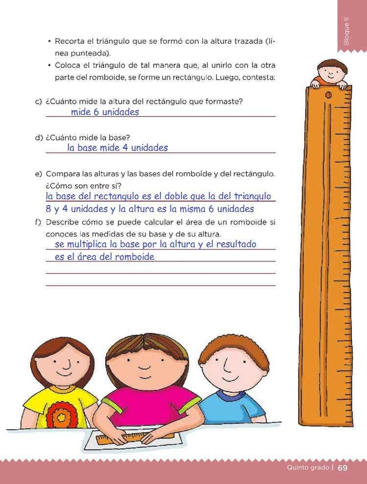 El romboideDesafíos MatemáticosQuinto gradoContestado pagina 69
