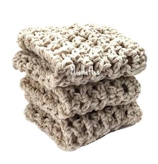 Handmade Beige Dish Cloths Washcloths
