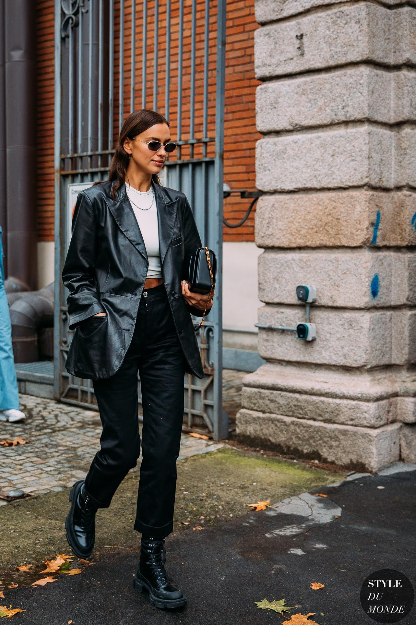Irina Shayk in an Easy 3-Piece Outfit with a leather blazer, black jeans and lug-sole combat boots