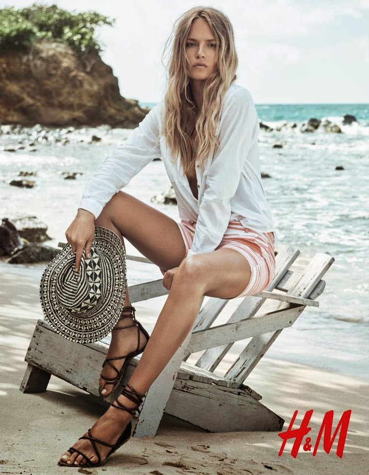 Natasha Poly Hits The Beach For The H Amp M Summer 2015 Trend