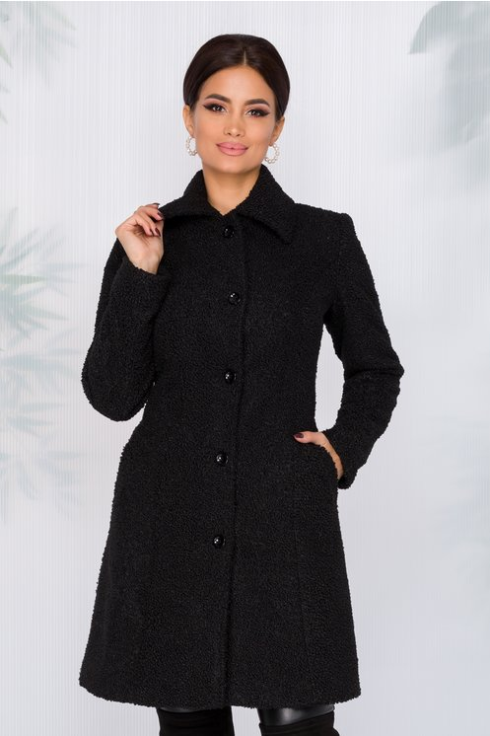 Palton femei de iarna negru din blanita elegant si modern la reducere