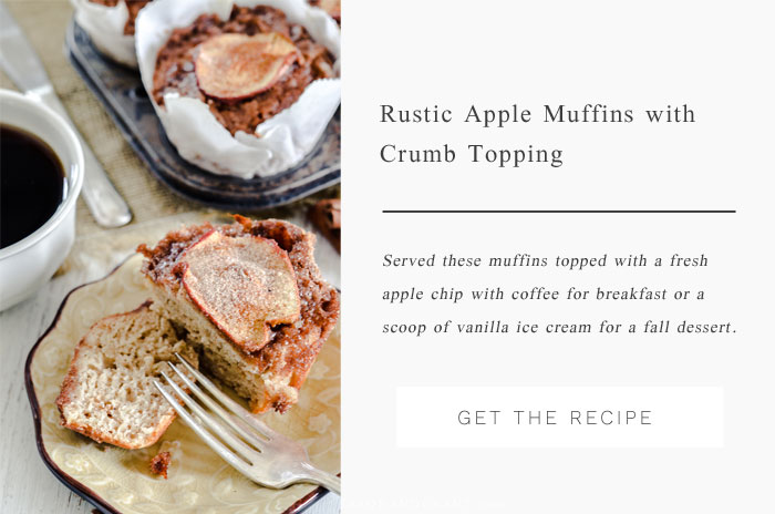 A delicious apple muffin recipe for fall topped with a rustic crumb topping and fresh apple chip.