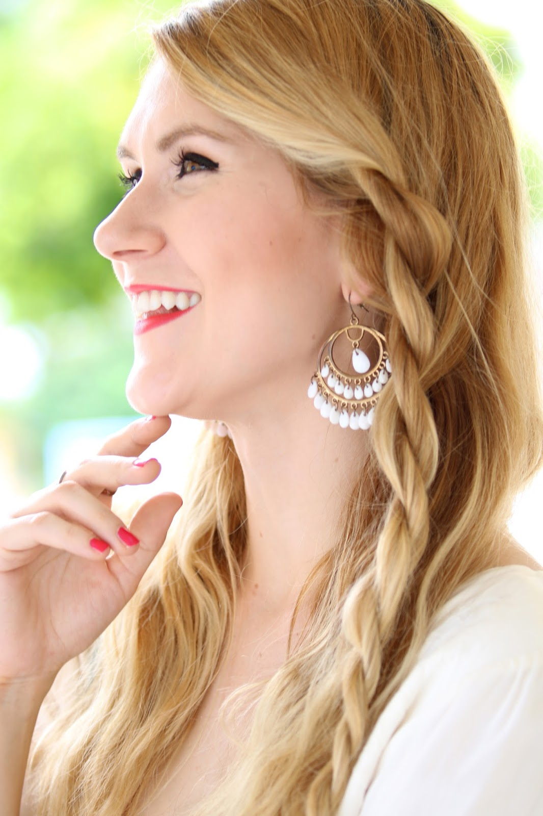 Beautiful white boho earrings for Summer