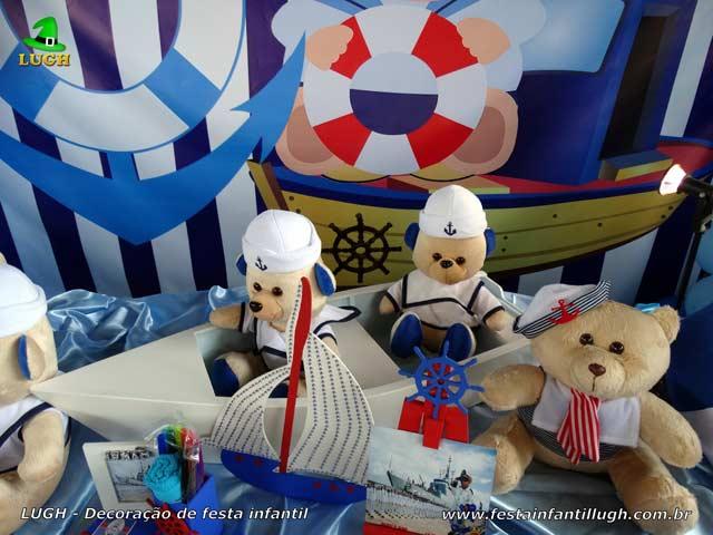 Ornamentação de festa de aniversário infantil Ursinho Marinheiro