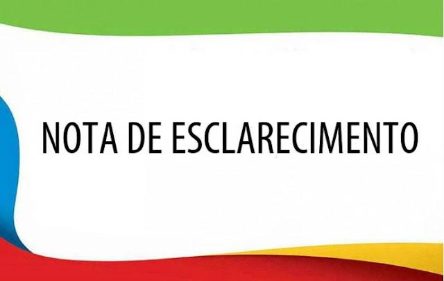 Nota de Esclarecimento : Secretaria Municipal de Saúde de Cajobi