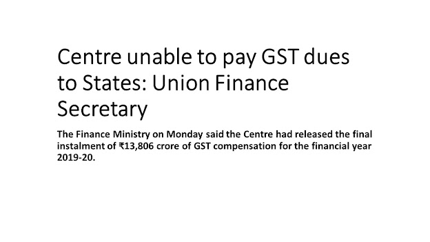 Centre unable to pay GST dues to States: Union Finance