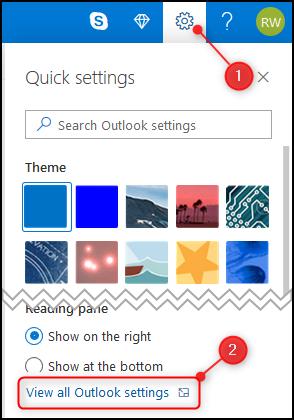 """لوحة Outlook """"إعدادات سريعة"""" مع تحديد خيار """"عرض جميع إعدادات Outlook"""""""