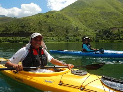Iman, son of Sitor Situmorang in kayak