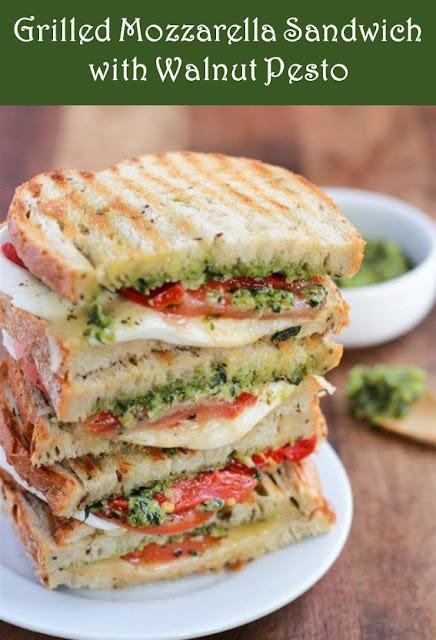 Grilled Mozzarella Sandwich With Walnut Pesto #Grilled #Sandwich #Cheese #Walnut #Bread