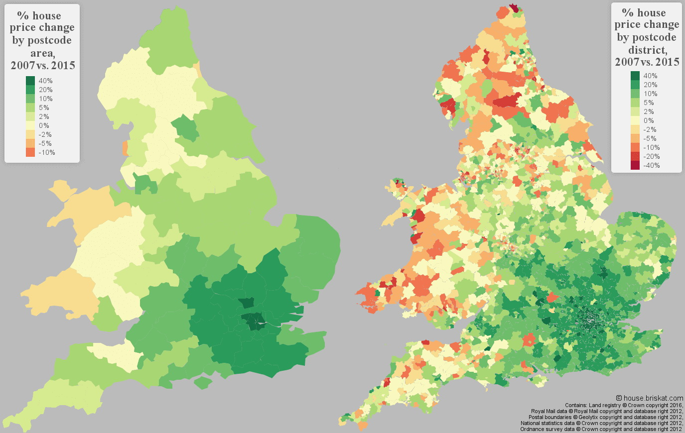 % house price change in England & Wales (2007 vs 2015)