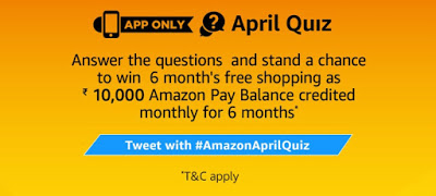 Amazon April Quiz – Answer & Win 6 Month Free Shopping