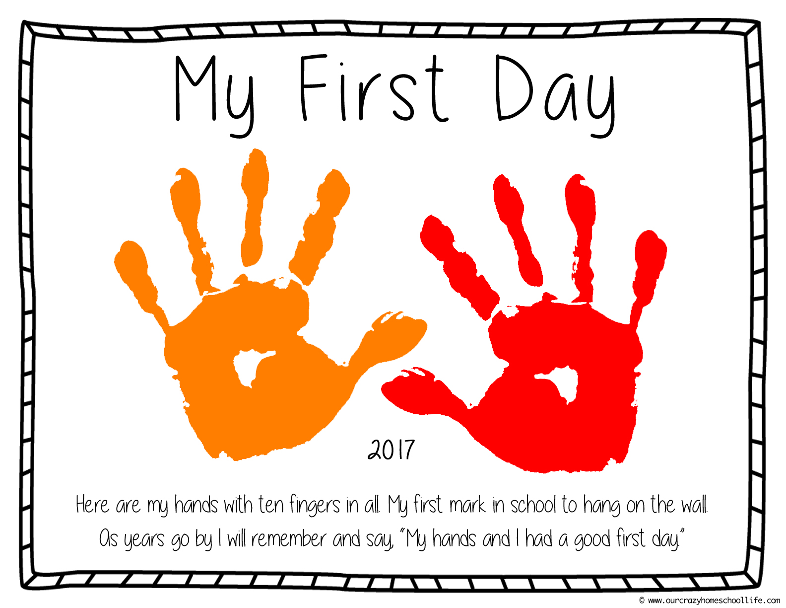 first day of school crafts for preschool free day of preschool printable craft our 105