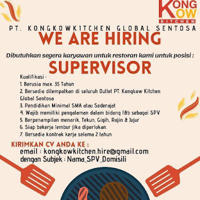 Loker Kupang PT Kongkowkitchen Global Sentosa Sebagai Supervisor