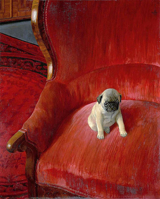 Thomas Theodor Heine, small dog in a red chair