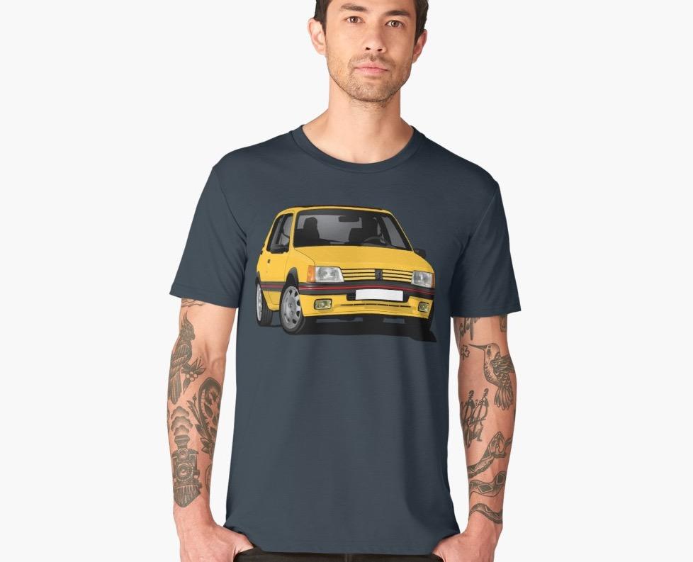 Cornering  yellow Peugeot 205 GTi shirt