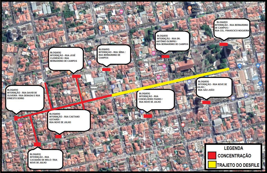 Trânsito terá alterações no centro de Olímpia para Desfile da Independência