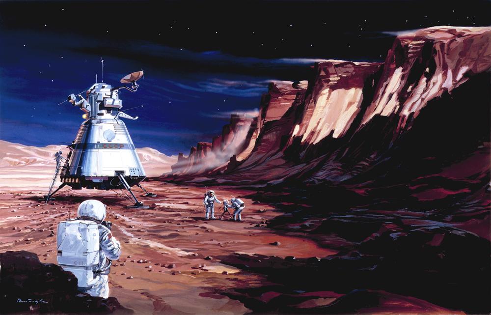 Soviet cosmonauts on Mars by Klaus Bürgle