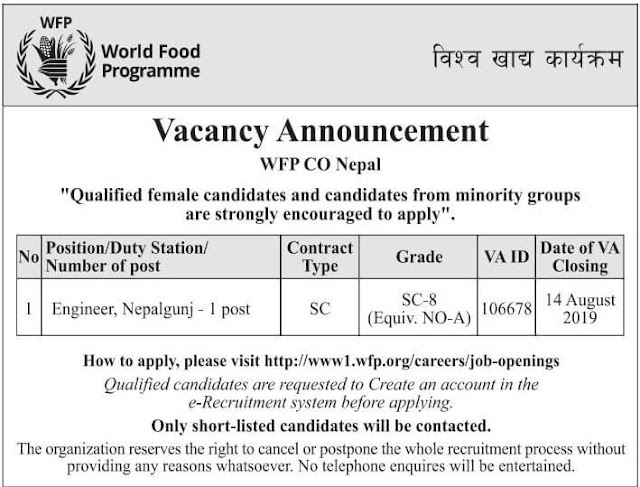 Vacancy at World Food Programme for Engineer