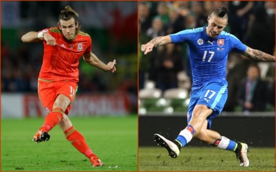 Gareth Bale of Wales and Marek Hamsik of Slovakia