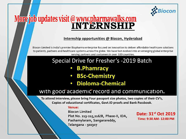 Biocon Limited - Walk-in drive for Freshers on 31st October, 2019