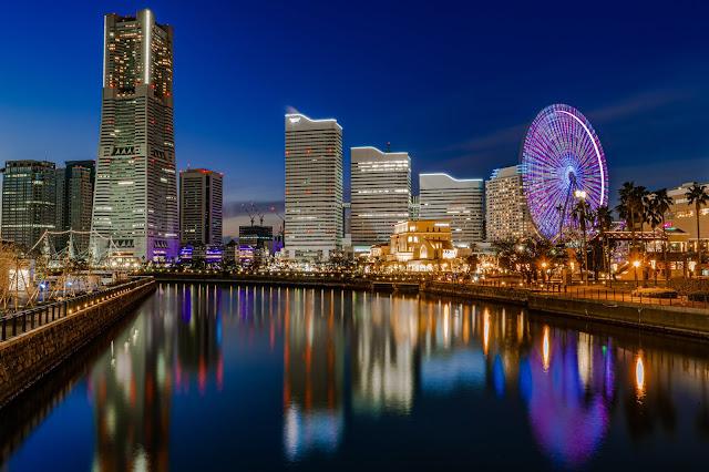 横浜,ライトアップ,みなとみらい