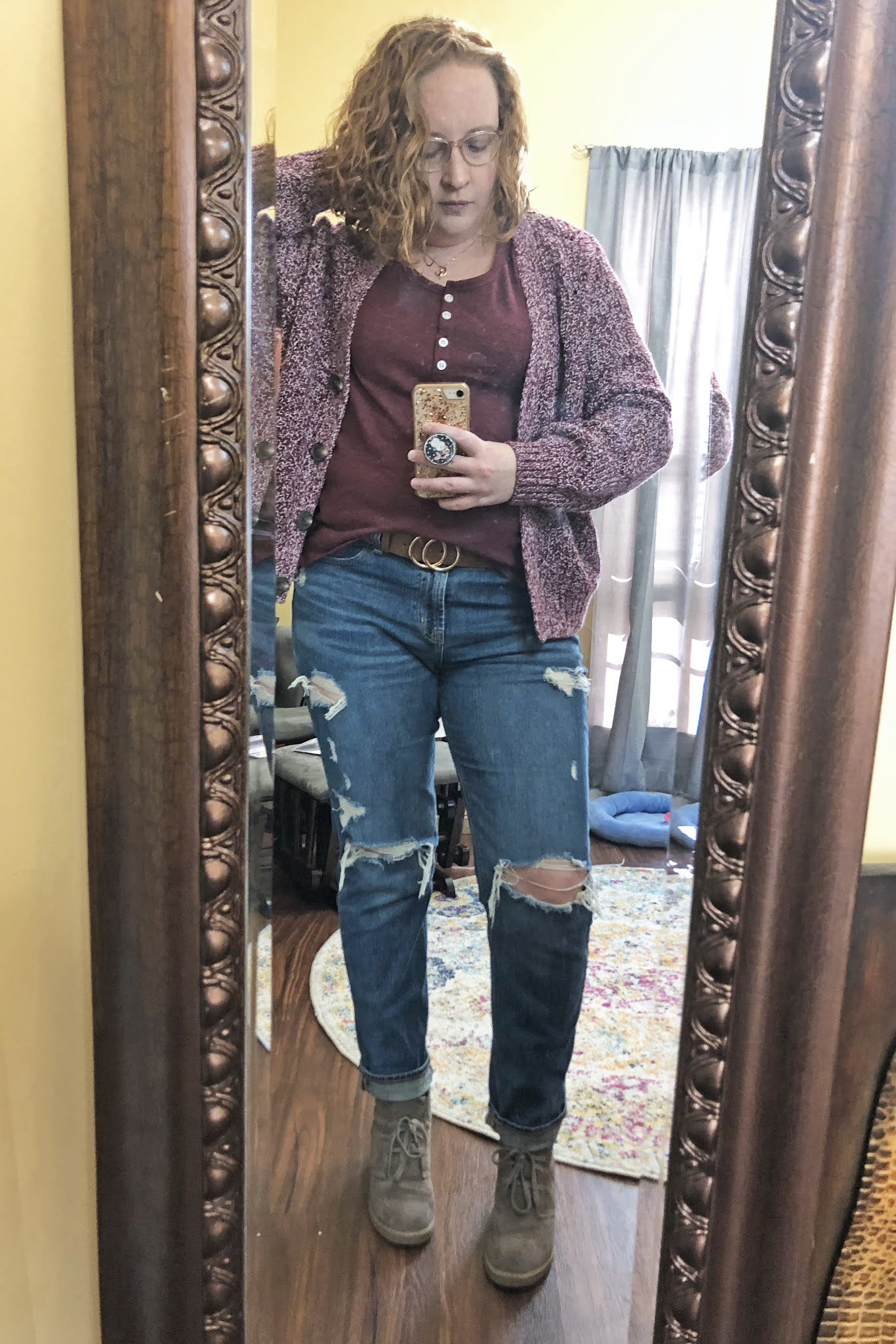 chunky red sweater henley bf jeans