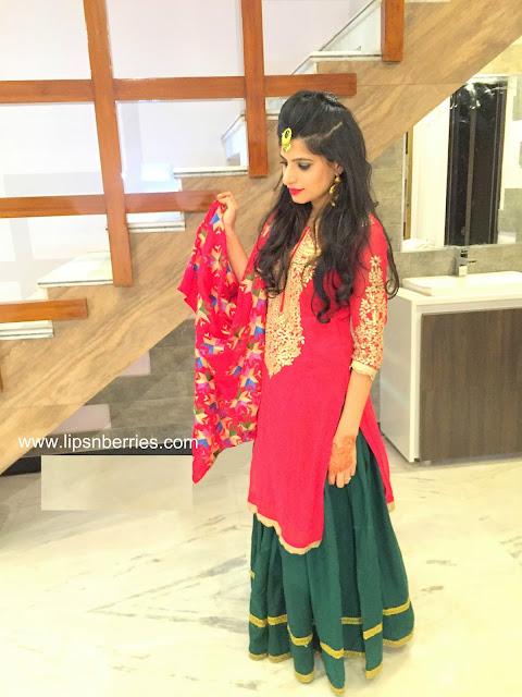 Phulkari outfit lady sangeet