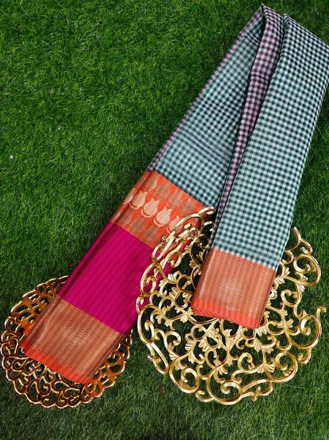 Fresh Design banaras Weaving  kora chek sarees