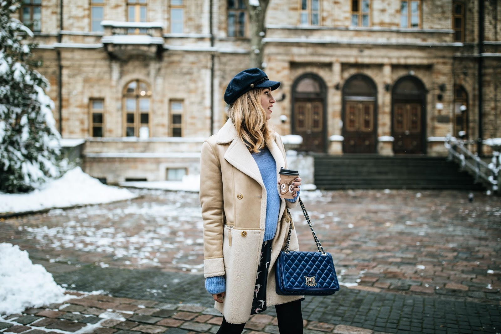 shearling coat outfit winter 2017