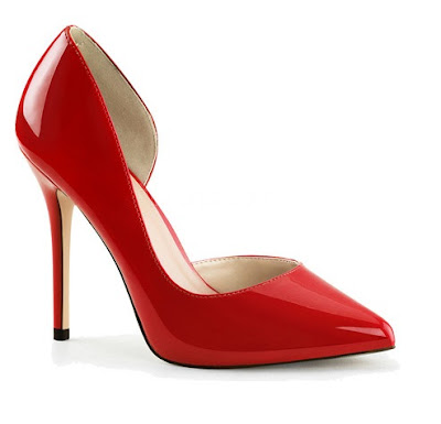 Pleaser USA Red high heeled d'orsay pumps