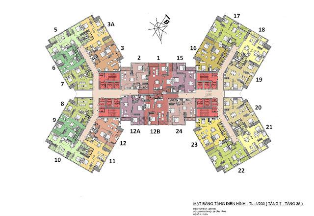 Mặt bằng tầng điển hình dự án Samsora Premier 105