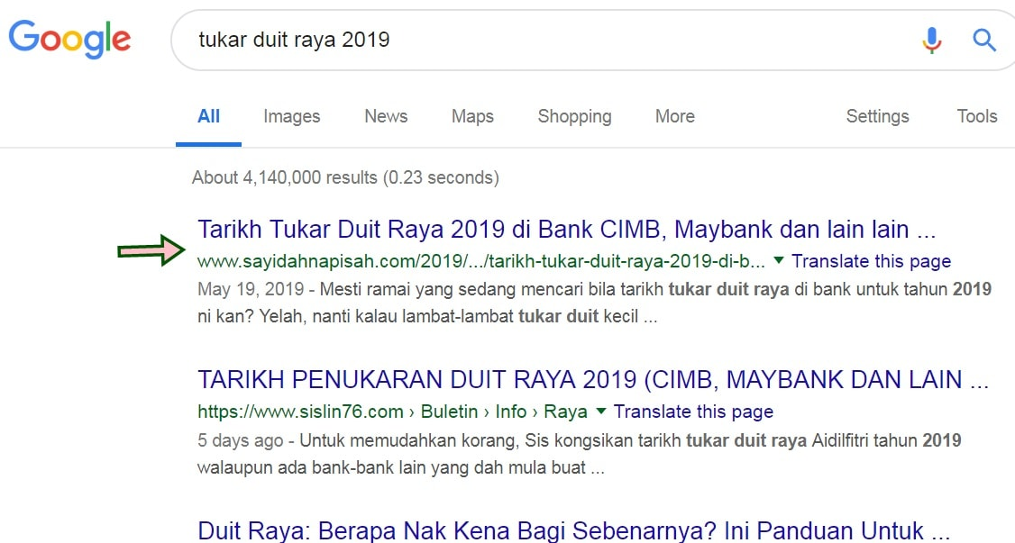 search keywords blog di Google