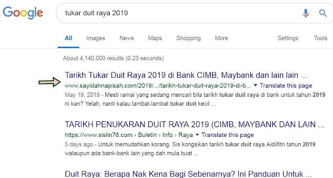 Check 'search keywords' di Google.. blog muncul kat page berapa?