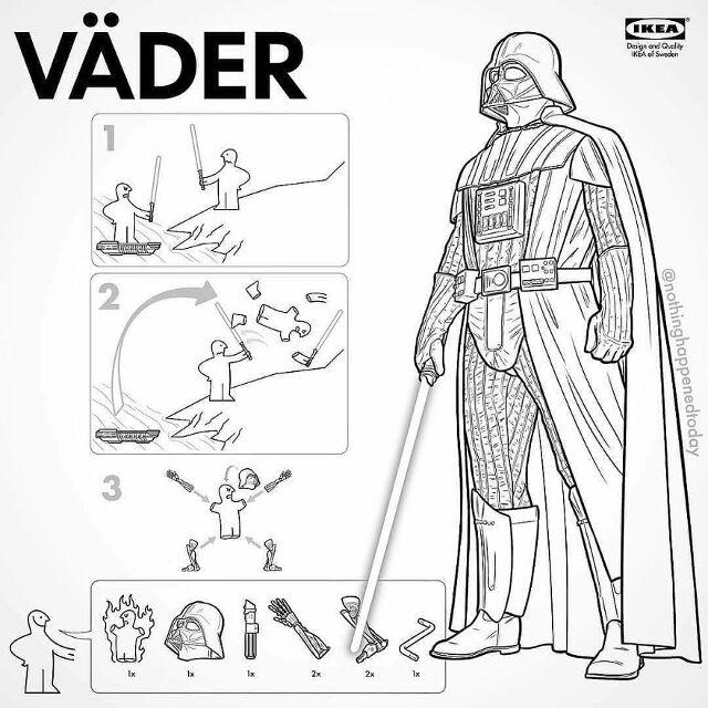 El ilustrador Ed Harrington nos enseña a hacer a algunos personajes de la cultura geek como instrucciones del IKEA