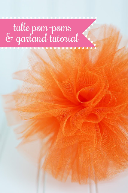 DIY tulle pom poms tutorial. Use individually or string into a garland.