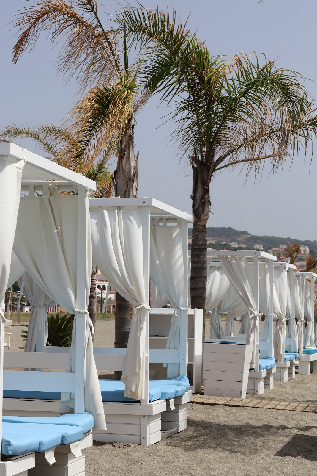White Day Beds at Chambao Beach Bar, Sotogrande, Spain